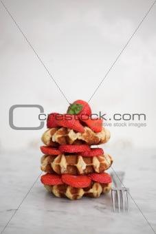 Belgian waffles & strawberries