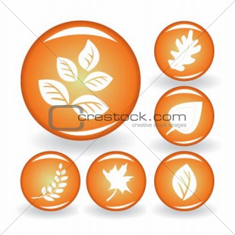 A set of buttons with autumn leaves