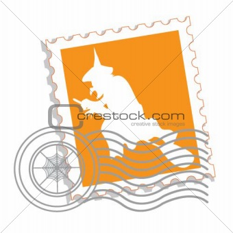 Postage stamp with witch's silhouette for Halloween