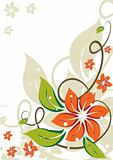Grunge floral background with abstract orange flowers