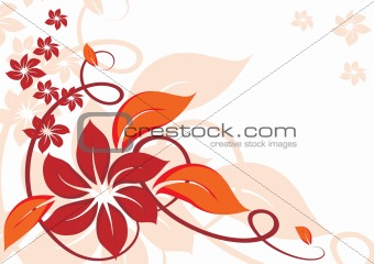 Autumnal background with beautiful abstract flowers