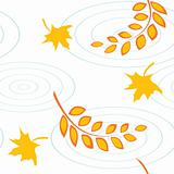 Autumnal seamless pattern with color leaves and puddles