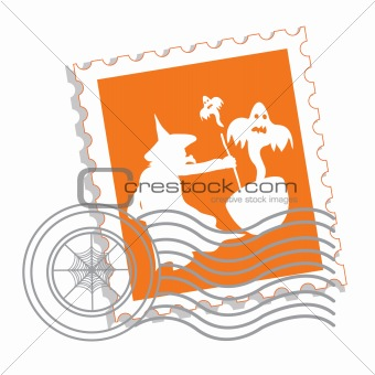Postage stamp with witch's silhouette for Halloween 2