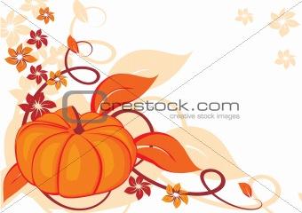 Grunge autumnal background with pumpkin