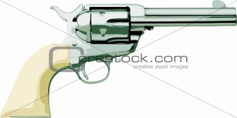 Silver Six-Shooter Revolver Pistol