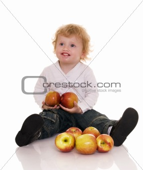 Baby with apple.
