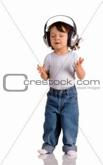 baby with headphones