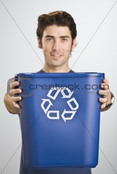 Man Holding Recycle Basket