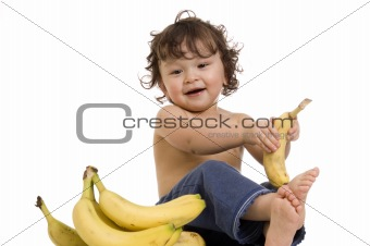 Baby with banana.