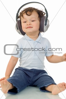 Baby with headphones.