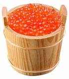 Red caviar is in a wooden bucket