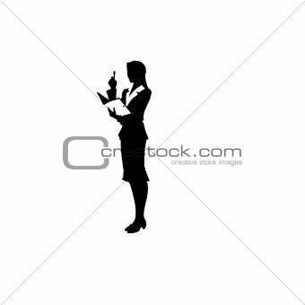 a woman is in a suit. Vector illustration