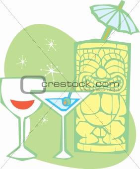Tiki, martini and wine