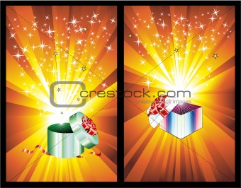 3D Decorated Gift Box with ray lights