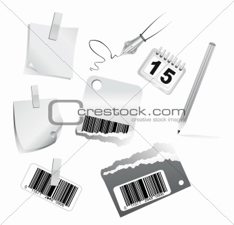 3D Office Icon set Black and White