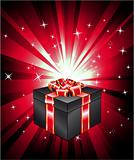 Gift Box with Red Ray Lights