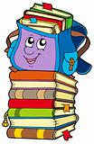 Cute school bag on pile of books