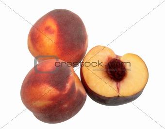 Three dark-red peach.