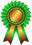 Bronze medal with green  ribbon (vector)