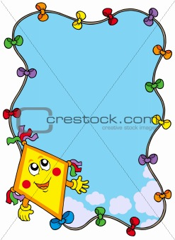 Autumn frame with cartoon kite
