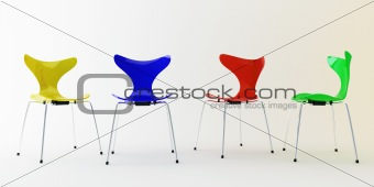 Four modern chairs