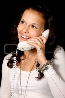 cute young woman talking on the phone