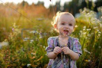 Little baby in a meadow