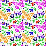 Colorful butterflies and flowers - vector