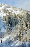 winter ski ropeway