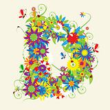 Letter D, floral design. See also letters in my gallery