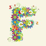 Letter F, floral design. See also letters in my gallery