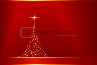 Abstract red golden vector background with Christmas tree and copy-space
