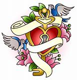 locked heart key with bird and flower graphic