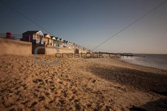 beach huts at southwold at dawn