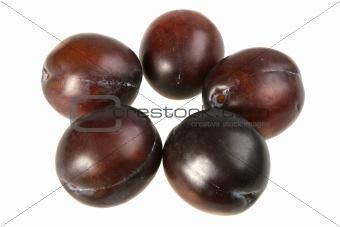 Five of dark-purple plums.