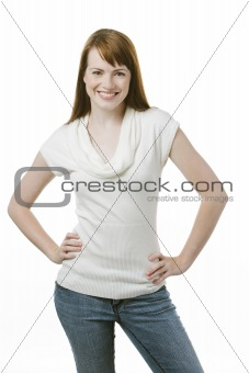 Happy woman standing