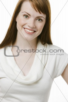 Happy young brunette woman
