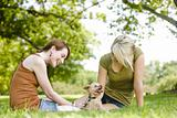 Women with dog at a park