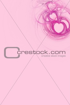 Hot Pink Heart Design With Pastel Pink Copy Space