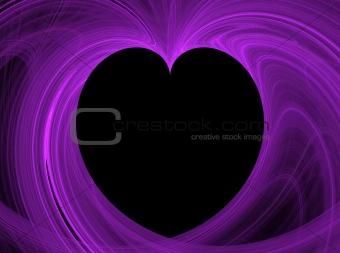 Black Heart Inside Purple Fractal Copy Space