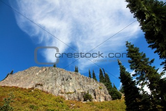 Rock Face with Clouds