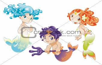 Two Baby Sirens and a Baby Triton