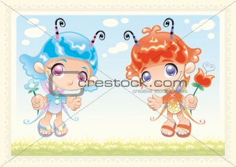 Funny Fairies with Background