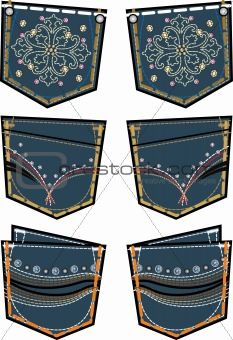 fancy back pockets with stones design