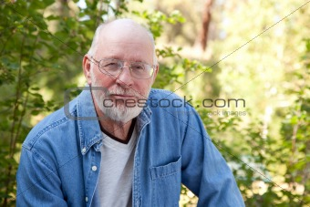 A Handsome Happy Senior Man Outdoor Portrait.