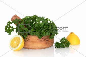 Parsley Herb and Lemon Halves