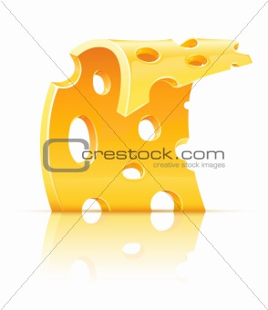slice of yellow porous cheese food with holes