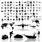 Army set of black sketch. Part 1.