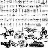 Army set of black sketch. Part 2.