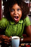 Pretty African American Woman with Shocked Expression